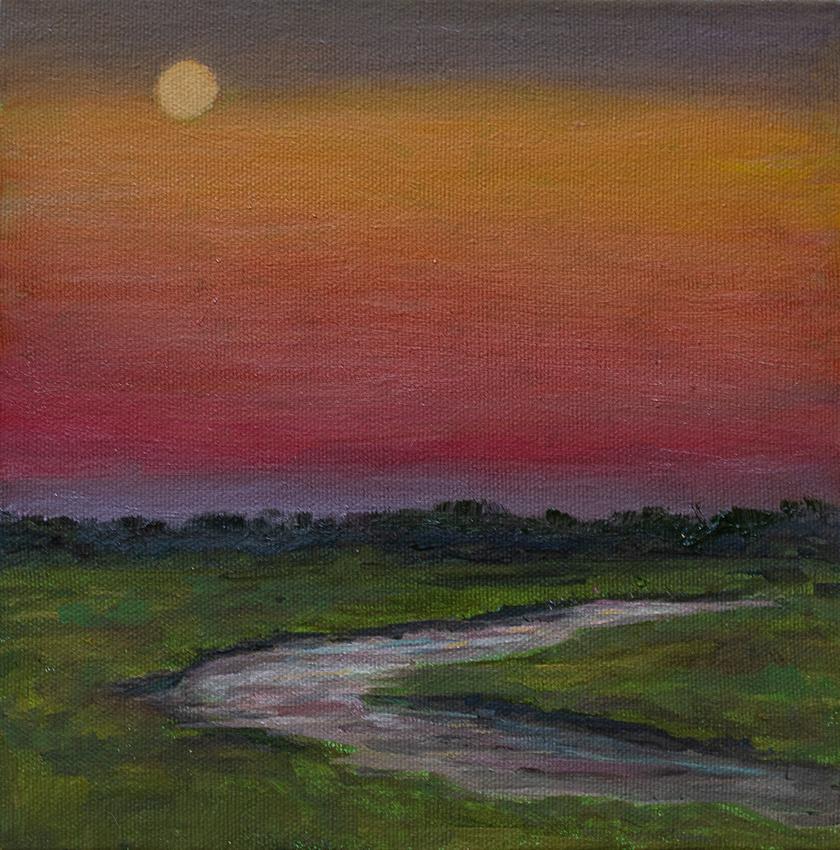 salt marsh sunset, oil on canvas, 8x8