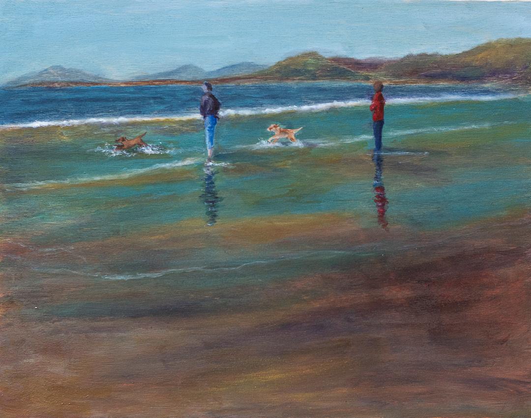 walking on a Welsh beach, oil on board, 11x14