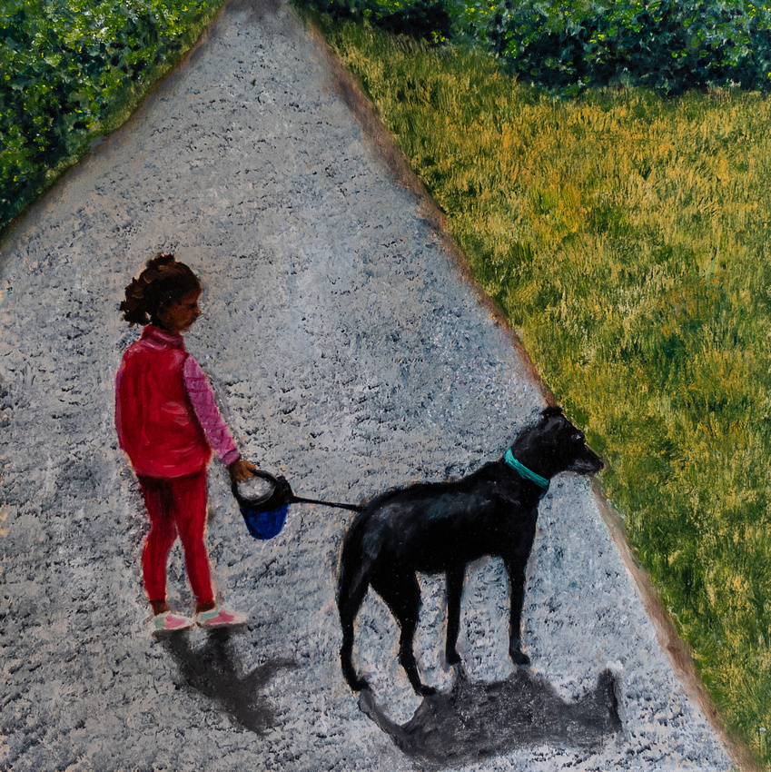 A girl and her dog, oil on birch panel, 12x12