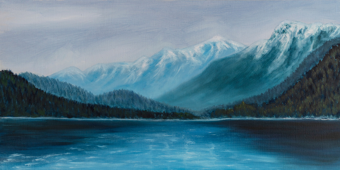 Lake Louise, oil on birch board, 10x20